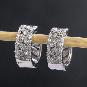 Jewelry - Hoop Diamond CZ Sterling Silver Earrings
